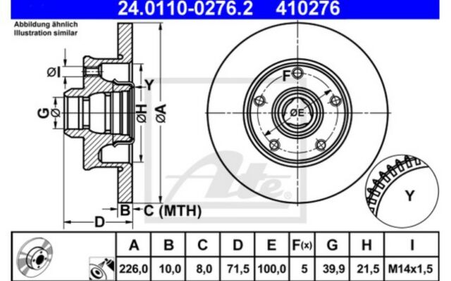 2x ATE Discos de Freno Traseros Pleno 226mm 24.0110-0276.2