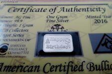1 Gramm Silberbarren mit Zertifikat: Geburtstag Geschenk (1g Silber Barren) NEU