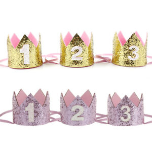 Details About Handmade Glitter Baby Boy Girl 1st Birthday Crown Party Hat Headband Decoration