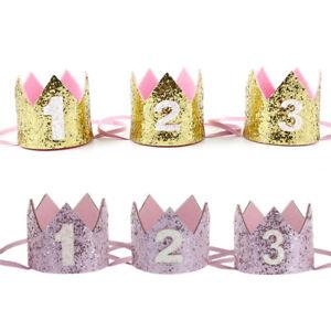 Handmade Glitter Baby Boy Girl 1st Birthday Crown Party Hat Headband Decoration
