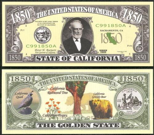 LOT OF 25 BILLS CALIFORNIA STATE NOVELTY BILL