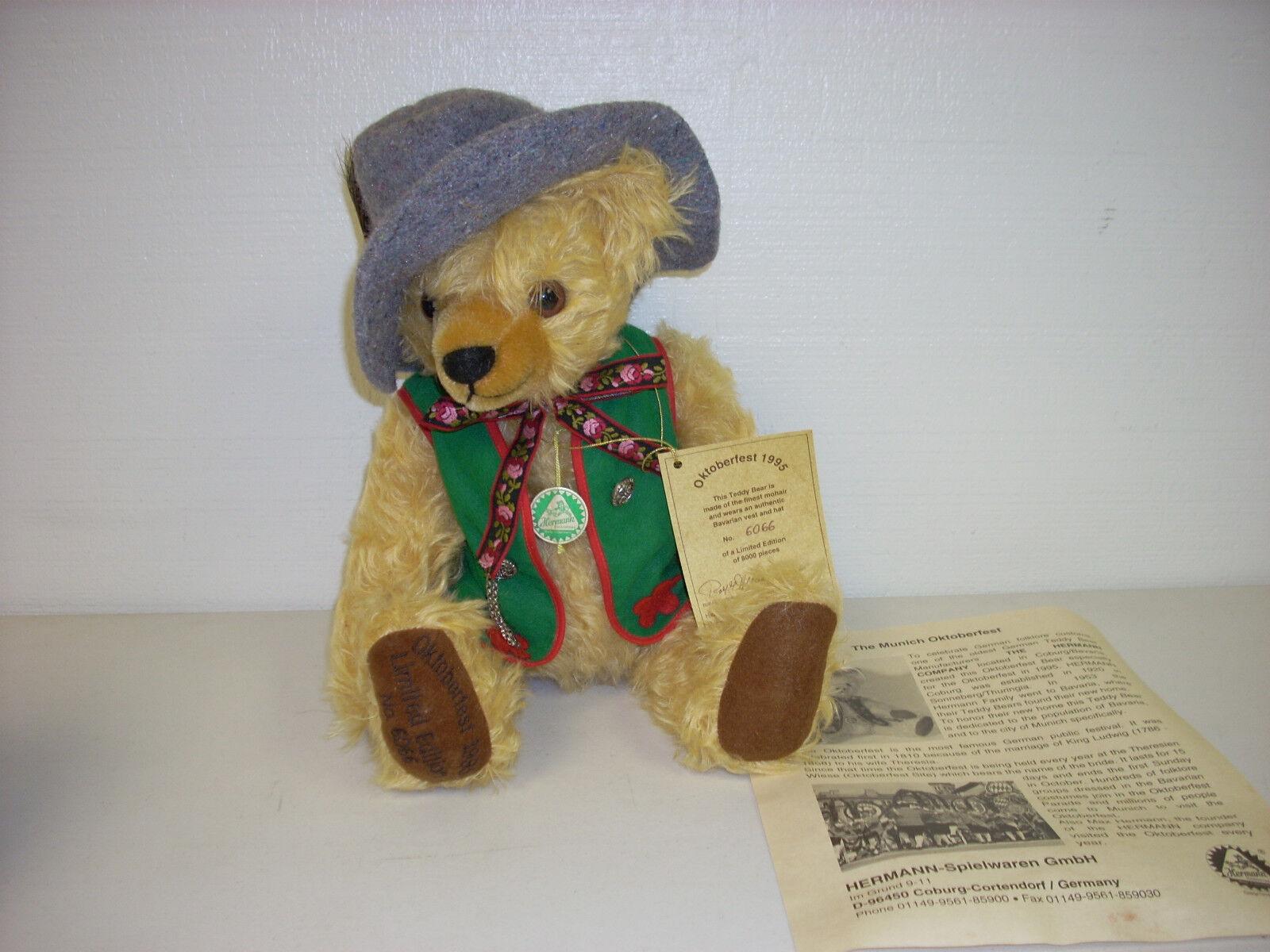HERMANN MUNICH OKTOBERFEST LIMITED EDITION MOHAIR BEAR 6066/8000 1995 XLNT COND