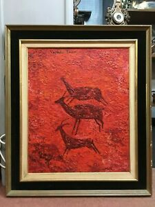 Vayreda-Canadell-1932-2001-Signed-Oil-Painting-of-Antelopes-1962