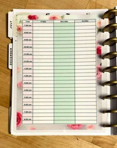 Hourly Dashboard for use with the Happy Planner Daily Schedule