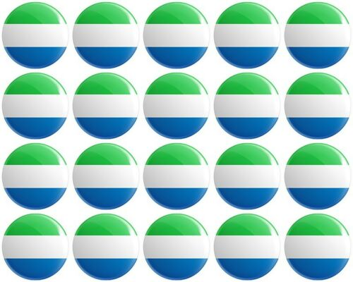 20 x Sierra Leone Flag BUTTON PIN BADGES 25mm 1 INCH Republic of