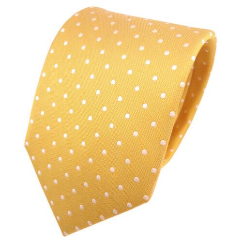Designer Seidenkrawatte gelb silber gepunktet Krawatte Seide Tie