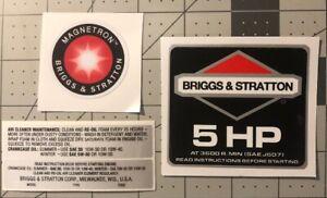 Briggs-amp-Stratton-5-hp-1986-91-Black-Shroud-Labels-Decals-set-of-4