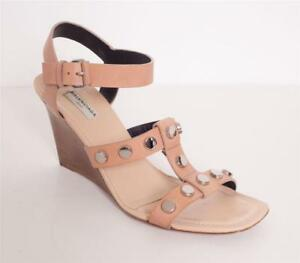 volume grande di modo attraente cerca ufficiale BALENCIAGA Womens Beige Nude Leather Silver Studded Wedge Sandal ...