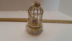 Pretty Porcelain & Metal Hinged Trinket Box - Doves in Birdcage