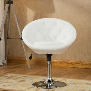 Peachy Details About White Pedestal Swivel Chair Faux Leather Accent Height Adjustable Vanity Stool Pdpeps Interior Chair Design Pdpepsorg