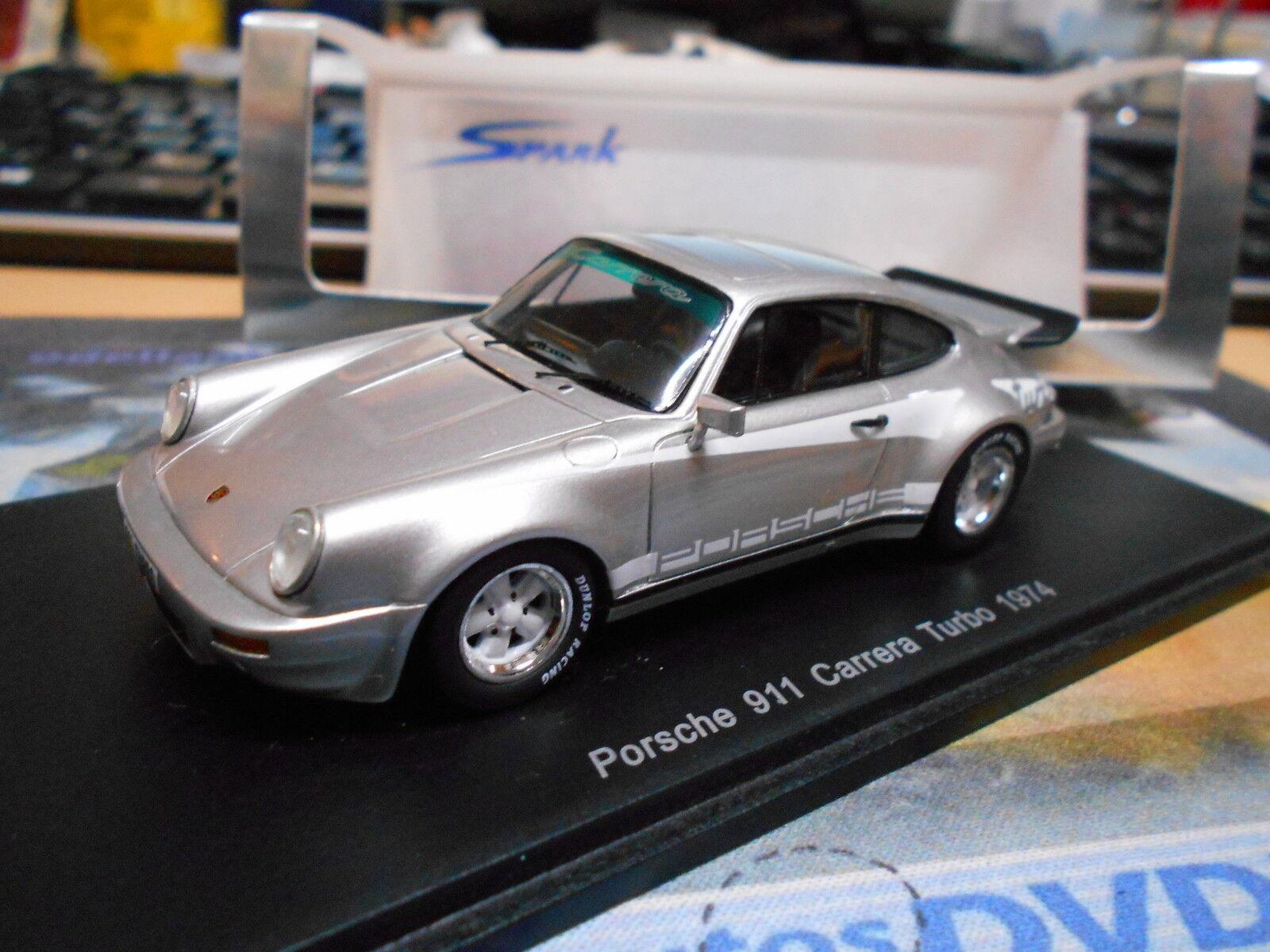 Porsche 911 voiturerera turbo  argent 1974 1. turbo  rar spark resin 1 43  chaud
