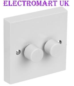 2 Gang 2 Voie Double Paroi Lumière Dimmer Switch PUSH ON OFF 60 W min à 250 W max