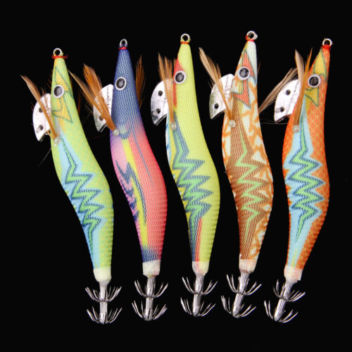 10pcs Luminous Squid Jigs Lure Fishing Shrimp Lure Bait Jigs Octopus 2.5# 3.0#