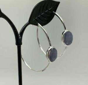 925 Sterling Silver Large Hoop Earrings Tanzanite Gemstones Natural Stone Hoops
