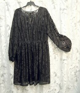 LANE-BRYANT-BLACK-ALL-OVER-LACE-HIGH-WAIST-FIT-amp-FLARE-DRESS-18-20-1X-2X-NEW