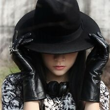 Black Fashion Women Ribbon Wide Brim Woolen Felt Hat Floppy Bowler Fedora Cap
