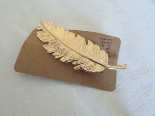 Vintage Inspired Lovely Leaf Hair  Slide in Gold or Silver Metal
