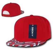 Solid Red 2 Tone Zebra Animal Print Vintage Snapback Classic Flat Bill Hat Cap