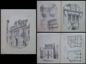 Caisse D'epargne, Pontoise, Morlaix -1900- Gravures Architecture,albert Guilbert