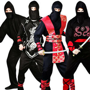 Image is loading Ninja-Warrior-Mens-Fancy-Dress-Japanese-Samurai-Martial-  sc 1 st  eBay & Ninja Warrior Mens Fancy Dress Japanese Samurai Martial Arts Adults ...