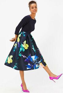 COAST-NEW-Solid-Bodice-Black-amp-Multi-Floral-Print-Full-Midi-Dress-Sizes-6-to-18