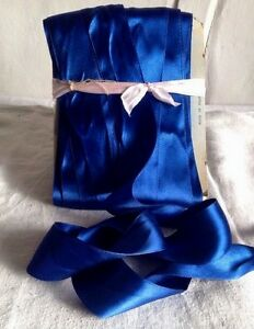 Vintage-Satin-Tape-Glossy-Blue-Ribbon-4-yd-amp-VIP-Gift-Wrapping-Old-New-Stock