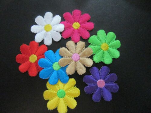 DAISY FLOWER IRON ON BADGE SEW ON PATCH APPLIQUÉ VARIOUS COLOURS QTY 1 8 4