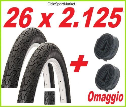 2 x Copertoni 26 x 2.125 bici Mountain Bike SLICK 2 x CAMERE D/'ARIA OMAGGIO