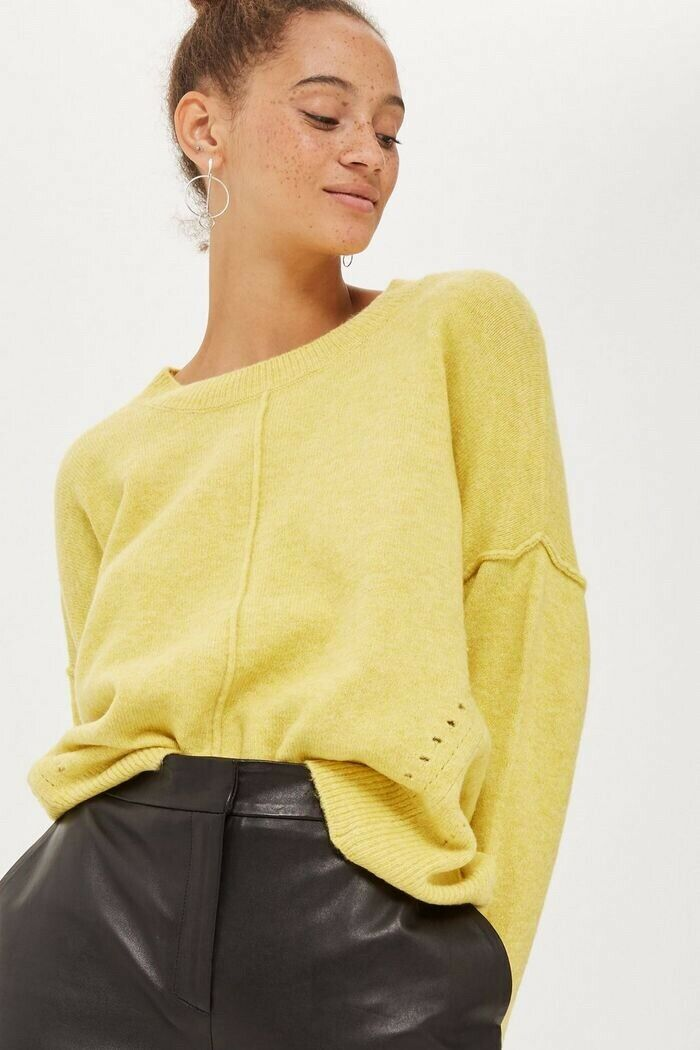 Topshop Yellow Pointelle Jumper - Petite Size 12