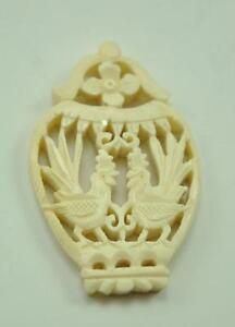 2 X Vintage Asian Bone Carved Bead Disc Carve Style Charm Pendant Love Bird Cage Ebay