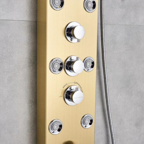 Wasserfall Duschpaneel Tower Panel Temperatur Bildschirm Niederschlag Gold LED