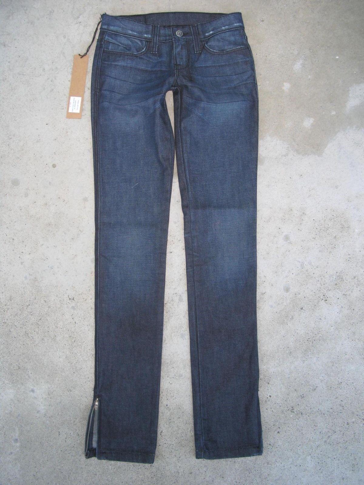 Ksubi Jeans Damen Super Enge Reißverschluss Säume Dunkel Distressed Sz 24 Neu
