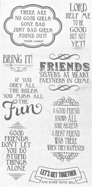 "Hampton Art Clear Stamps 4"" x 8"" - LOL - Friends, Girlfriends, Sisters, Humour"