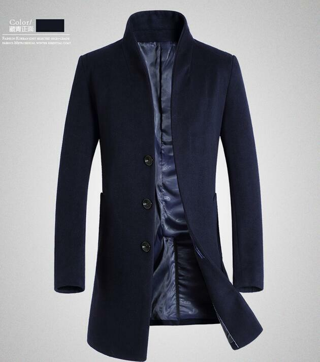 Men's Wool Blend Trench Coat Slim Fit Peacoat Overcoat Long Stand Collar Outwear