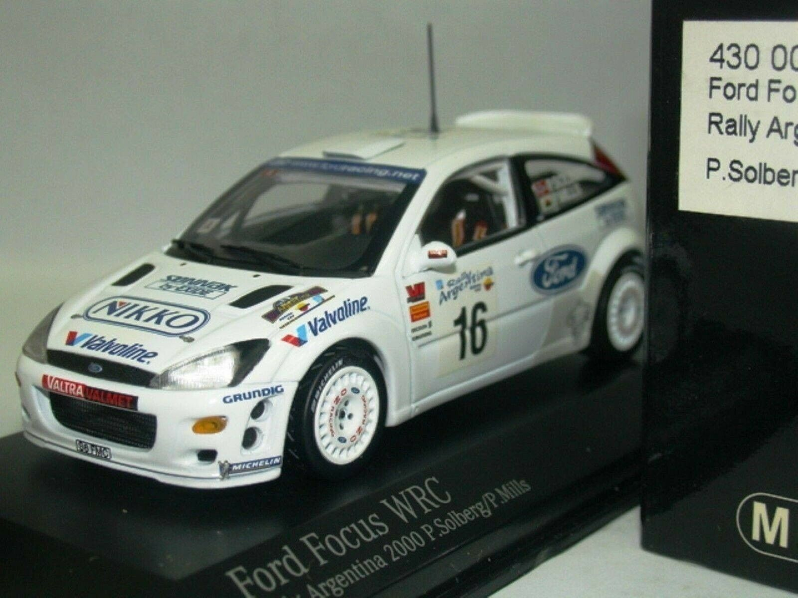 Wow extrêmement rare FORD FOCUS RS WRC 2000  16 Solberg ARGENTINA 1 43 Minichamps