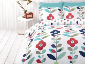 Funky-Modern-Flower-Bedding-Set-Blue-White-Multi-Duvet-Cover-Pillow-Cases