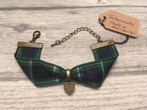 Bracelet Campbell Tartan w// vintage style love heart charm Made in Scotland NEW