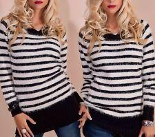 Flauschiger Long Pullover Streifen Kuschel Pulli 34/36/38 schwarz weiß TOP