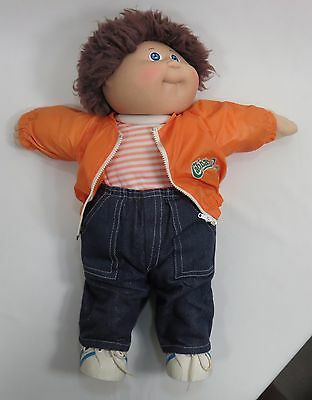 "Cabbage Patch Doll 16"" Male Brown Hair Blue Eyes Dimple Original Outfit 1982"