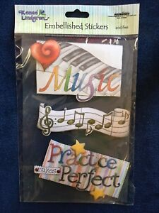 Details about Renae Lindgren Creative Imaginations Music Piano Notes  Embellishments Stickers