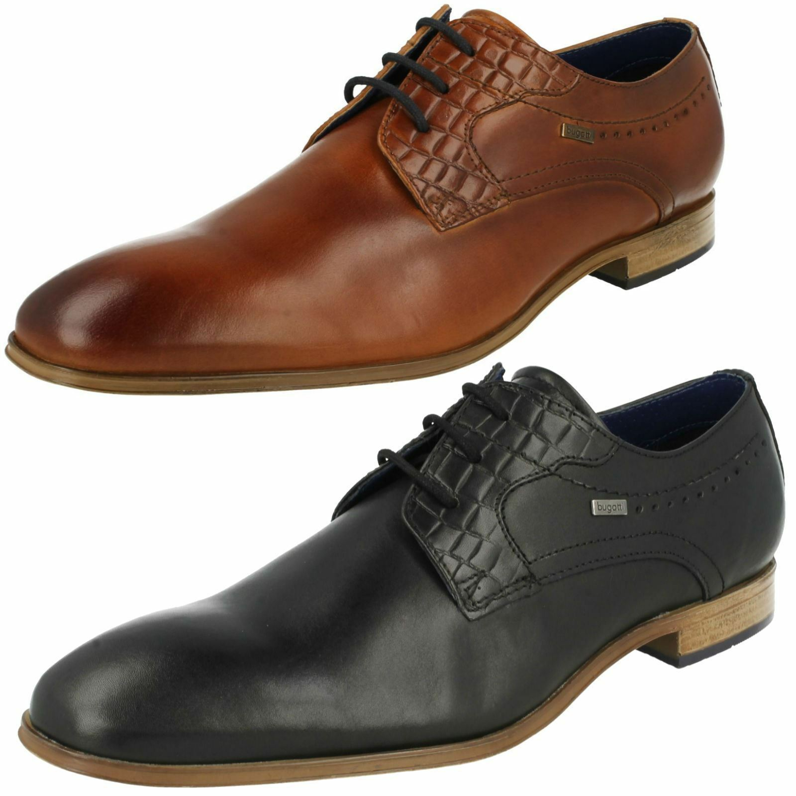 MENS BUGATTI LEATHER LACE UP SMART FORMAL OFFICE WEDDING SHOES 311-25202