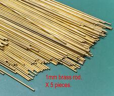 5 (five) X 1mm diameter brass modellers rod - 300mm lengths.