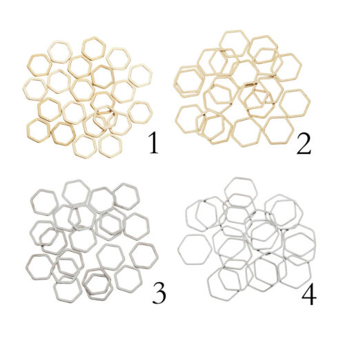 20Pcs Metal Hexagon Charms Jewelry Making Accessories for Bracelets Earrings