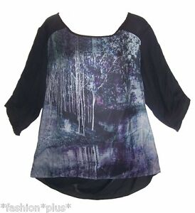 Plus-Size-Top-Tunic-Digital-Print-Chiffon-3-4-Sleeves-18-20-22-24-26-NWT