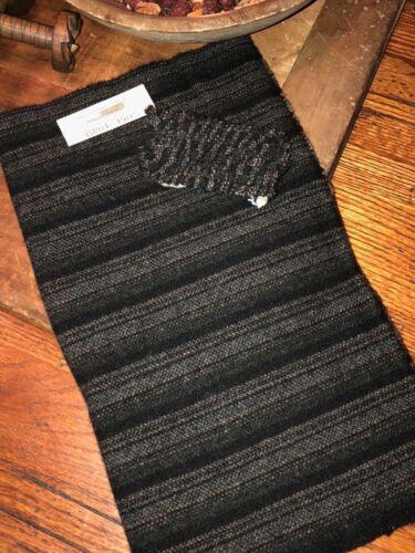 1//4 YD 100/% WOOL FOR RUG HOOKING OR WOOL APPLIQUE ~ BLACK BARS