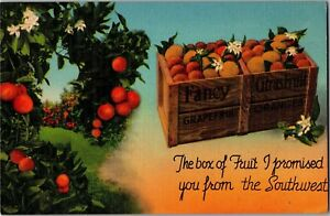 Box-of-Fruit-I-Promised-You-from-the-Southwest-c1947-Vintage-Postcard-M25