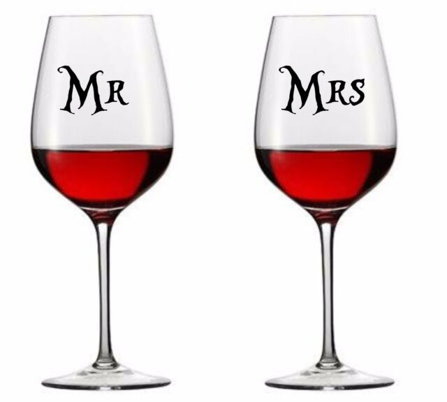 Personalised wedding mr ad mrs vinyl decal wine glass stickers