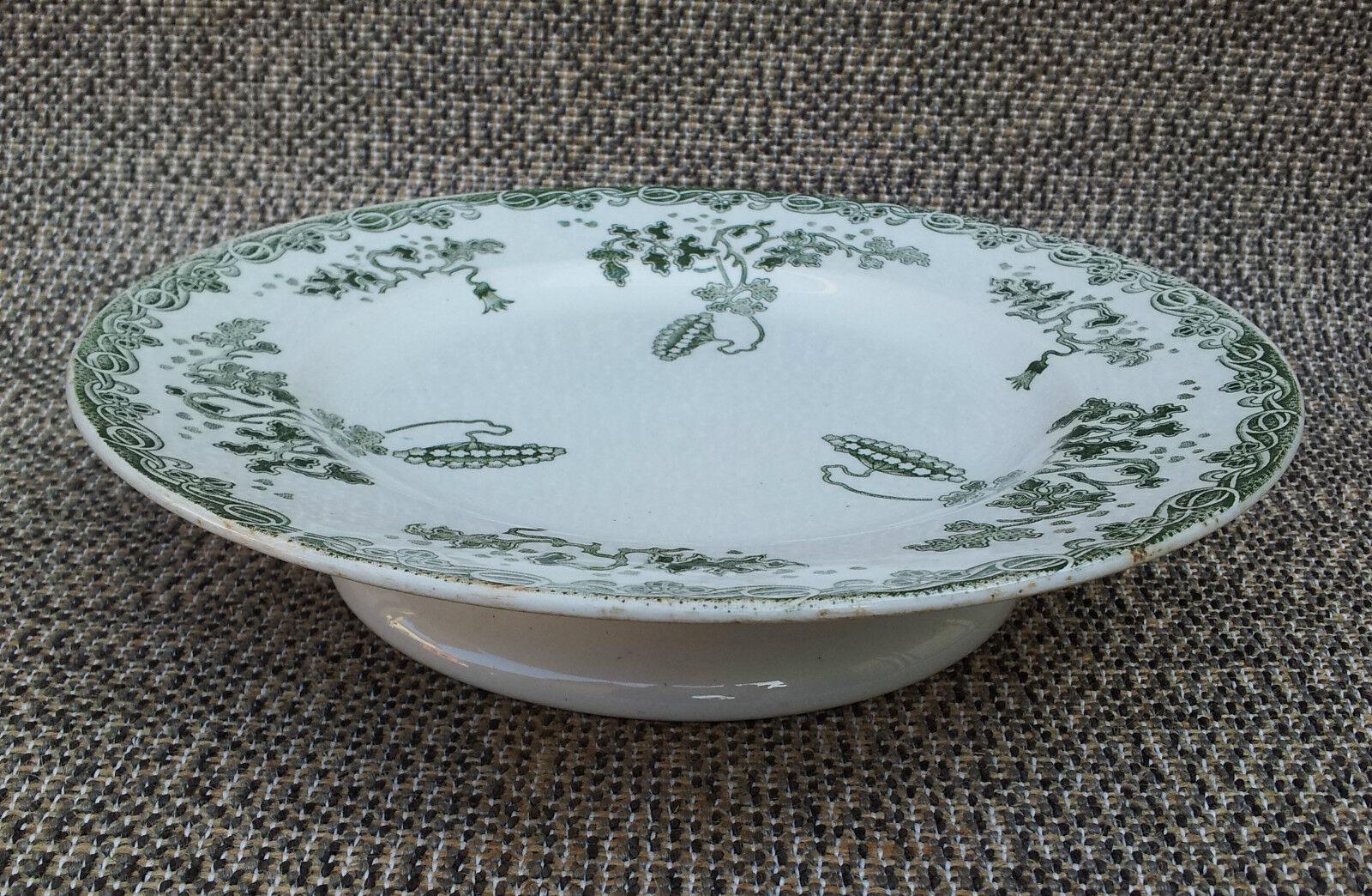 Ancienne assiette Grüne deco florale pied douche St Amand Amand Amand et H. french pottery ec1e65