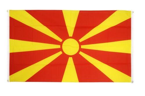 BALKONFLAGGE BALKONFAHNE Mazedonien Flagge Fahne für den BALKON 90x150cm