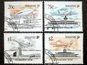 Singapore-1991-Civilian-Airports-Complete-Set-4v-Used-2